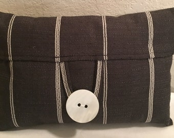 Grey chalk stripe pillow with oversized pearl button