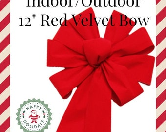 Red Christmas Bow, Outdoor Red Bow, Red Velvet Bow, Outdoor Velvet Bow, Red Wreath Bow, Mailbox Bow, xmas Bow, Outdoor Holiday Decor