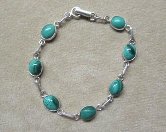 Malachite STERLING silver 8-stone bracelet.