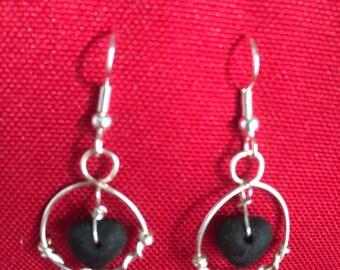 Wire wrapped/ black heart earrings
