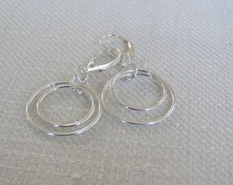 Double Hoop Dangle Earrings - Sterling Silver