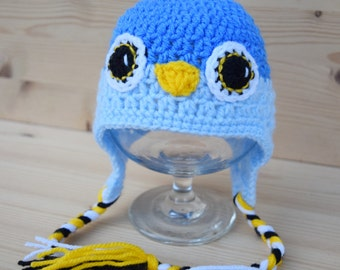 Crochet baby hat, Bird hat, Blue Bird, Baby photo prop, Baby hat, Baby boy, Baby props