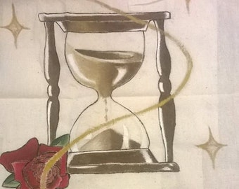 hand painted hourglass and rose canvas tote bag