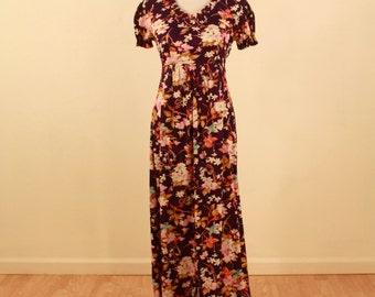 1970s Floral Floor-Length Dress