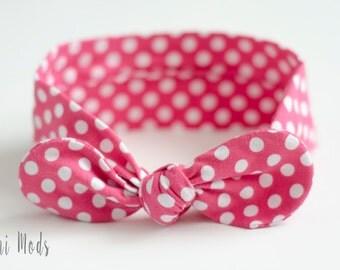 Pink Polka Dot Top Knot Headband / Baby Headband / Knot Baby Headwrap / Pink Headband / Tie knot Turban Headband / Baby Shower Gift