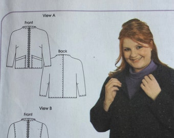 Zip Front Jacket 201, Petite Plus Patterns, Zip Front Jacket with Dolman Sleeves and Funnel Neckline