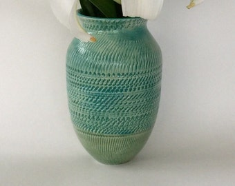 Turquoise and Field Green Vase