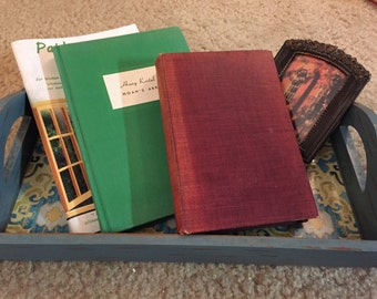 Shabby Chic Tray, Vintage Books & Framed Picture