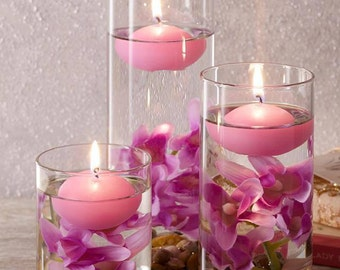 Set Of Three Lilac Floating Candles
