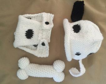 Handmade Knitted Newborn Dalmatian Outfit