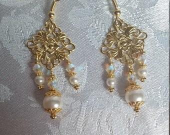 Swarovski Pearl and Crystal AB Chandelier Wedding Bridal Earrings Gold