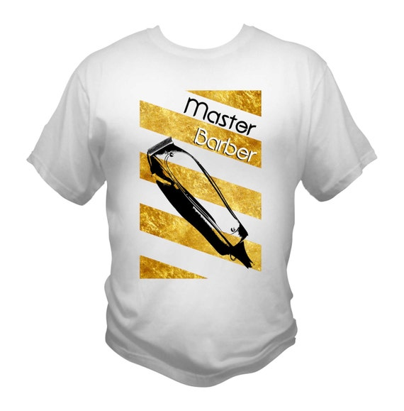 Master Barber T-Shirt White Gold Barber Pole Andis Master Fader Clippers
