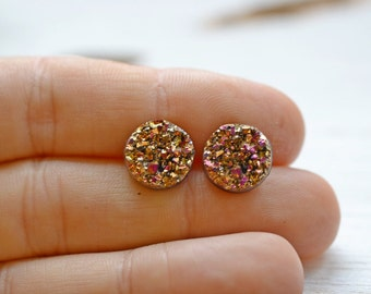 Magenta Gold Faux Druzy Earrings, 12mm Round Metallic Glitter Posts, Glittering Gold Stainless Steel Studs