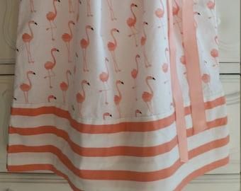 Girls Pillowcase Dress-Flamingos and Stripes