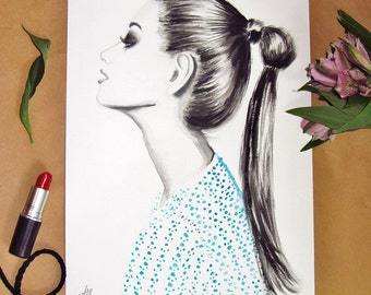 Original Watercolor and Mixed Media fashion Illustration by AM Illustration