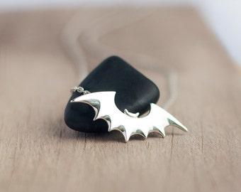 Bat silver pendant - Sterling silver bat - Halloween Bat - Small bat necklace - sterling silver chain