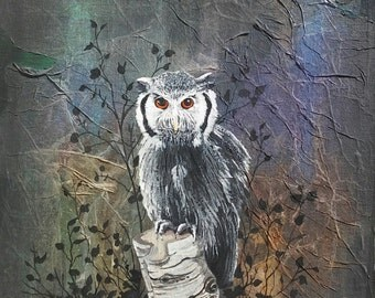 EUROPEAN EAGLE OWL, Original Owl Mix Media Painting, Silhouette Tree