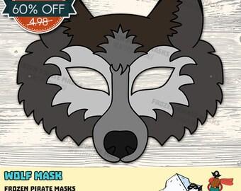 60% OFF SALE Wolf Mask Printable wolf costume animal mask grey wolf masks kids mask wolf masquerade wolf halloween