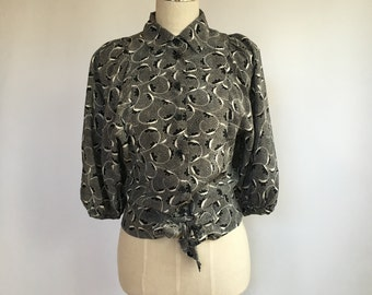 Silk Wrap style Blouse // dolman sleeves // fitted waist // tie front top // Small