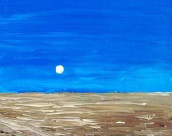 """Minimalistic landscape ORIGINAL OIL PAINTING """"Horizon"""" 15,8x11,8 in"""