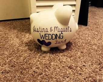 Wedding fund / Savings Fund personalized piggy bank with Vinyl Decal, Engagement Party Gift, Fund Piggy bank, Wedding Bank