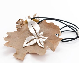 Leaves Pendant, Autumn Jewelry, Fall Necklace, Sterling Silver, Handmade Design, Fall Jewelry, Gift for Her