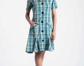 Teal Madras Check Shirt Dress
