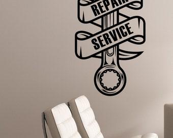 Repair Service Decal Etsy - Custom vinyl wall decals for garage