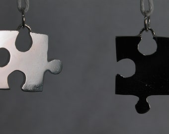 Pair of pendants puzzle in sterlin silver, with necklace - Hand Made - FREE INGRAVING Nichel Free