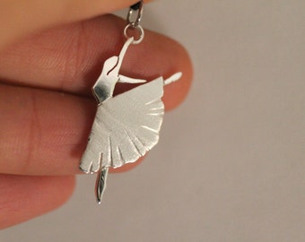 Silver Dancer Pendant, with necklace - Hand Made - DANCE - Nikel free