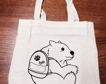 BE Bear Black on Off-White Calico Tote Bag