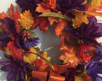 Elegant Fall wreath  12 inch diameter hand made    Rameil