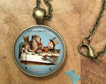 Alice in Wonderland Mad Tea Party Sayings Dome Round Cabochon Necklace Pendant Gift UK