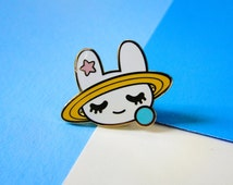 space bun enamel pin