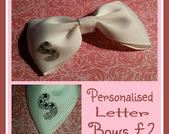Personalised sparkly diamonte letter bows