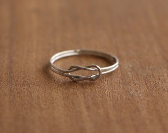 Silver Sailor Knot Ultra Thin Ring, Sterling Silver Knot Ring, Handmade Sailor Knot Stacking Ring