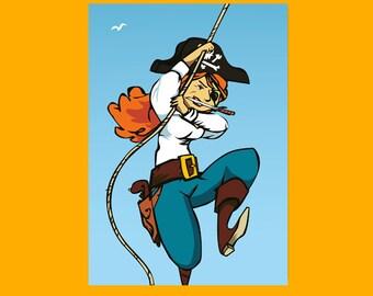 Pirate Lady * Postcard * Greeting Card  * Invitation * Illustration * A5 * Download * Kids * Birthday