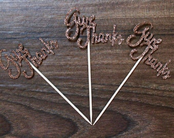 Give Thanks Thanksgiving Cupcake Toppers - Sparkly Brown