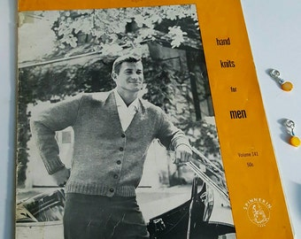 1957 Spinnerin Hand Knits for Men Knitting Pattern Book