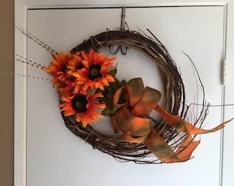 Rustic Orange Sunflower wreath