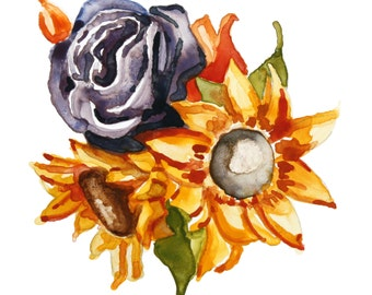 Colorful Sunflower and Rose Bouquet, Photographic Print of Original Watercolor