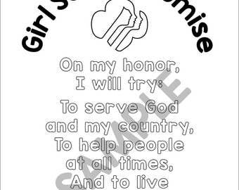 girl scout coloring pages pdf   The Girl Scout Promise 12x12 Premade Scrapbook Page