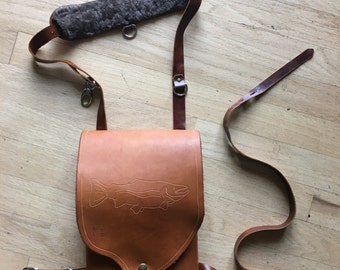Leather chest mount fly fishing pack