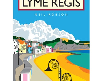 Lyme Regis Illustration - 40 x 30cm Art Print