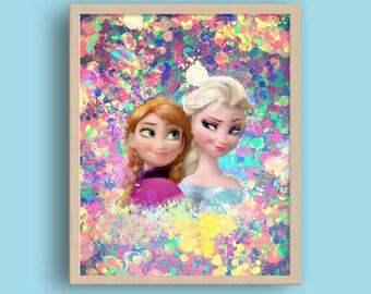 Anna and Elsa Princess, Frozen princess, Princess Frozen, Disney Princess Print, Frozen princess, Nursery room printable, Princess prints