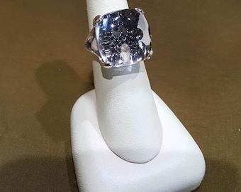Vintage Gabriel & Co Sterling Silver Black Spinel and Rock Crystal Ring.