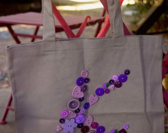 Button Monogram Tote Bag