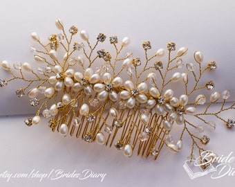 Wedding hair jewelry, hair comb with pearls, pearls and crystals bridal comb
