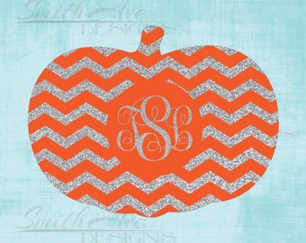 Chevron Monogram Pumpkin, SVG File, Quote Cut File, Silhouette or Cricut File, Vinyl Cut File