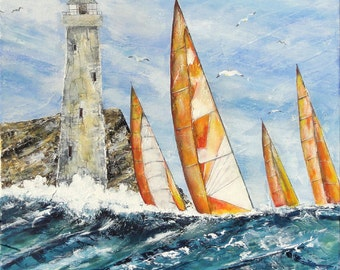 """Acrylic painting, a lighthouse painted at the foot of a rock by little strong sea """"Lighthouse"""""""